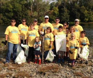 Sacramento Employees, Families and Friends Removing Trash at the Great American River Cleanup