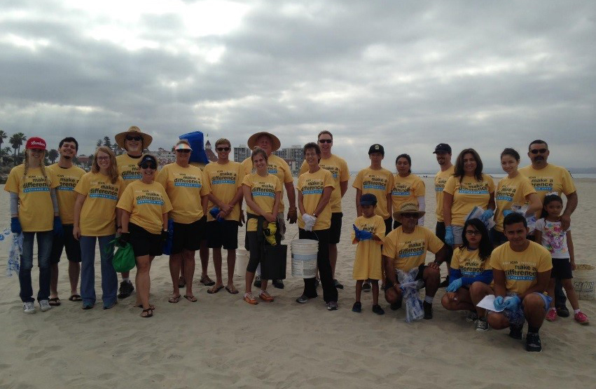 San Diego County District Employees, Families and Friends Removing Debris at Coronado Beach with CAW's 2013 Environmental Grant Program Winner, WILDCOAST