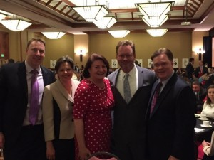 California American Water Executives Robert MacLean, Kevin Tilden and Aldie Warnock with Assembly Speaker Toni Atkins and Her Spouse, Jennifer LeSar, at the 2015 California Roast