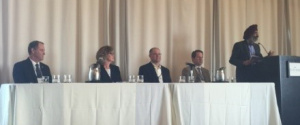 Panel on Water IOUs – Doing Their Part L-R: Tim Treloar, Cal Water, Carol Thomas-Keefer, Liberty Utilities (Apple Valley Ranchos Water), Rich Svindland, CAW, Andy Gere, SJWC, and Rami Kahlon, CPUC
