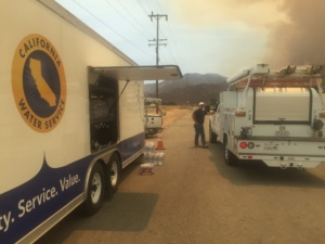 Cal Water's Emergency Response Trailer Unit Used as a Mobile Bottled Water Distribution Center During the Erskine Fire