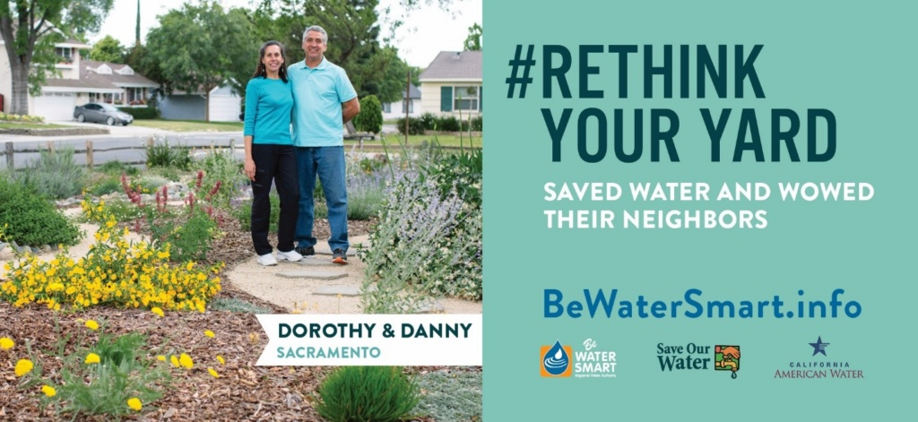 Billboards Throughout Sacramento Featuring the Delgados and Their New Water-Wise Front Yard