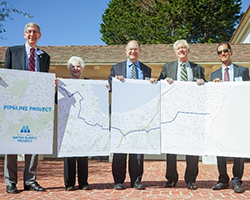 (L-R) Bill Kampe, Mayor of Pacific Grove; Libby Downey, Monterey Councilwoman; Rich Svindland, CAW Vice President of Operations; Dave Stoldt, General Manager, Monterey Peninsula Water Management District; and Paul Sciuto, General Manager, Monterey Peninsula Regional Water Pollution Control Agency